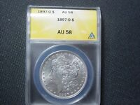 1897 O MORGAN DOLLAR ANACS AU 58