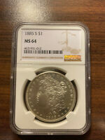 1885-S MORGAN SILVER DOLLAR $1 PCGS MINT STATE 64 PROOFLIKE SURFACES PROOF LIKE SURFACES