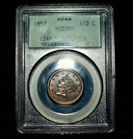 1857 BRAIDED HAIR HALF CENT  PCGS MINT STATE 63-RB  1/2C RED-BROWN CHOICE BU TRUSTED