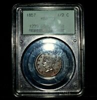 1857 BRAIDED HAIR HALF CENT  PCGS MINT STATE 63-BN  1/2C BROWN CHOICE BU UNC TRUSTED