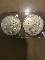 LOT OF 2 MORGAN SILVER DOLLARS  DETAILS1881 AND 1882