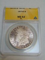 1879 S MORGAN SILVER DOLLAR ANACS MINT STATE 62 PL PROOF LIKE
