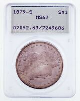1879-S $1 MORGAN DOLLAR GRADED BY PCGS AS MINT STATE 63 OLD HOLDER