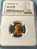 1909 VDB LINCOLN WHEAT CENT PENNY NGC MS65 RD NICE COIN