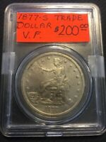 UNITED STATES 1877 S $1 TRADE DOLLAR SILVER COIN VF/XF SAN F
