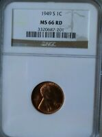 1949 S LINCOLN WHEAT CENT NGC MINT STATE 66 RD