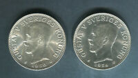 1934 AND 1936 SWEDEN SILVER 2 KRONOR BOTH UNC.