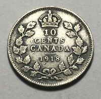 CANADA 1918 TEN CENTS SILVER COIN   KING GEORGE V
