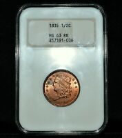 1835 CLASSIC HEAD HALF CENT  NGC MINT STATE 63-RB  1/2C RED-BROWN OLD FATTY TRUSTED