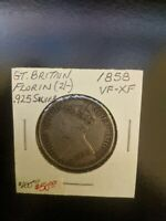1858 GREAT BRITAIN QUEEN VICTORIA FLORIN .925 SILVER COIN VF