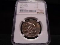 1925-S MINT STATE 64 CALIFORNIA SILVER COMMEMORATIVE NGC CERTIFIED - LIGHTLY TONED