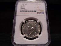 1935 MINT STATE 65 BOONE SILVER COMMEMORATIVE NGC CERTIFIED GEM - BRIGHT WHITE/PQ