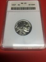 1937 BUFFALO NICKEL MINT STATE 65 ANACS BRILLIANT UNCIRCULATED FULL HORN
