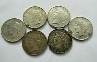LOT OF 6 ALL DIFFERENT CIRCULATED PEACE SILVER DOLLARS