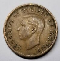 OLD CANADIAN COIN 1941 - ONE CENT - COPPER - GEORGE VI - WWII ERA