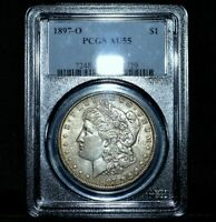 1897-O $1 MORGAN SILVER DOLLAR  PCGS AU-55  ALMOST UNCIRCULATED UNC TRUSTED