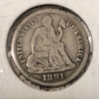 1891-S SEATED LIBERTY DIME - EXTRA FINE