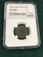1864 2C LARGE MOTTO NGC EXTRA FINE 45 BN