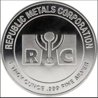 NEW REPUBLIC METALS CORP  RMC  1 TROY OUNCE .999 FINE SILVER ROUND 1 DAY SHIP