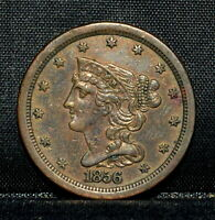 1856 BRAIDED HAIR HALF-CENT  AU ALMOST UNC DETAILS  1/2C CLEANED R17 TRUSTED