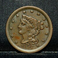 1857 BRAIDED HAIR HALF-CENT  EXTRA FINE  EXTRA FINE  1/2C  COIN T19 TRUSTED