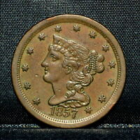 1857 BRAIDED HAIR HALF-CENT  CH-EXTRA FINE  EXTRA FINE  1/2C  COIN U20 TRUSTED