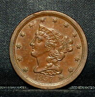 1857 BRAIDED HAIR HALF-CENT  AU ALMOST UNC DETAILS  1/2C CLEANED W22 TRUSTED