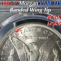 1885-P MORGAN SILVER DOLLAR VAM-1D BANDED WING TIP PCGS MINT STATE 65 FINEST LISTED