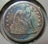 1852 SEATED LIBERTY DIME WITH TONING. SHIPS FREE.  COLOR