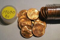 1969 D LINCOLN CENT ROLL  BU UNCIRCULATED RED