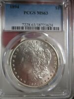 1894 $1 MORGAN DOLLAR PCGS MINT STATE 63