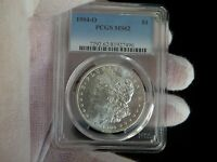 PCGS 1904-O MINT STATE 62 MORGAN SILVER DOLLAR  COIN  LUSTER.