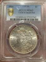 1884 P MORGAN DOLLAR MINT STATE 63 PCGS VAM 4 SMALL DOT TONED OBVERSE BU