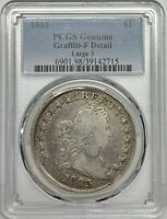 1803 DRAPED BUST SILVER DOLLAR PCGS FINE DETAIL GRAFFITI LARGE 3 REGISTRY COIN