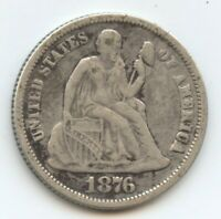 1876-CC SEATED 10C 11414 VF CLEANED,.