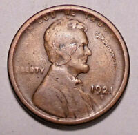 1921 S LINCOLN WHEAT CENT PENNY - OBVERSE MINT LAMINATION ERROR -  SHIPS FREE