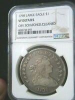1798 $1 DRAPED BUST LARGE HERALDIC EAGLE SILVER DOLLAR B-8 BB-125 NGC VF DETAILS