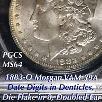 1883-O MORGAN VAM-39A DATE DIGITS IN DENTICLES, DIE FLAKE IN 8, PCGS MINT STATE 64