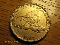 1857 1C FLYING EAGLE CENT CLIPPED WING ERROR VARIETY UNCIRCULATED BEAUTY