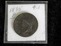 1834 P/CORONET HEAD LARGE CENT CIR /  BROWN/  U GRADE.