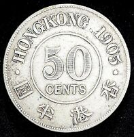 1905 HONG KONG SILVER 50 FIFTY CENT CENTS COIN