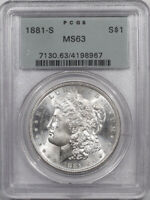 1881-S MORGAN DOLLAR - PCGS MINT STATE 63 PREMIUM QUALITY, OLD GREEN HOLDER