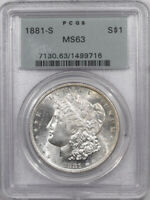 1881-S MORGAN DOLLAR - PCGS MINT STATE 63 PREMIUM QUALITY OLD GREEN HOLDER