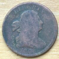 1808 DRAPED BUST HALF CENT 5.4 GRAMS EARLY AMERICAN COPPER C