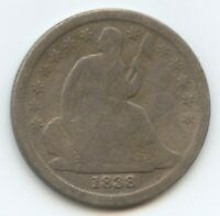 1838 SEATED DIME VG LITE ISSUES 12115