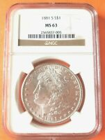 1881-S MORGAN SILVER DOLLAR NGC MINT STATE 63