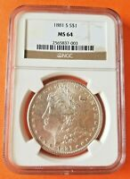 1881-S MORGAN SILVER DOLLAR NGC MINT STATE 64