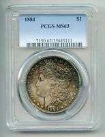 1884 MORGAN SILVER DOLLAR PCGS MINT STATE 63