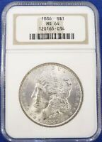 1886 MORGAN SILVER DOLLAR NGC MINT STATE 64 A GEM