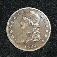 1834 UNITED STATED CAPPED BUST SILVER HALF DOLLAR LY DEFINED